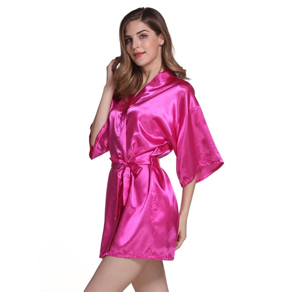 hot-selling buy sale elegant appearance Hot Pink Women's Satin Robe Kimono Sleepwear Boutique